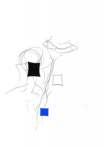 Gestik mit schwarzer und blauer Raute